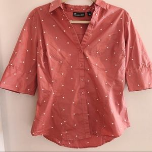 NEW YORK AND COMPANY POLKA DOT BUTTON UP BLOUSE